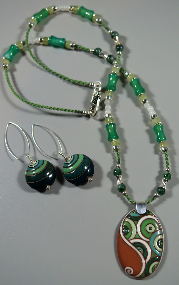 Handmade clay Earrings and Necklace