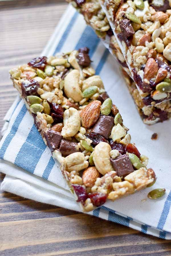 "Healthy Homemade Granola Bars --- Tart Cherry, Dark Chocolate & Cashew Granola Bars --- First we have this flavor ""bomb"". The combination of ingredients in this recipe is amazing. The bars taste so good, and they are pretty energetic, perfect for your workout."