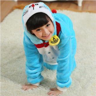 フランネルドラえもんのパジャマは、子供のためのコスプレホームの摩耗をワンシー