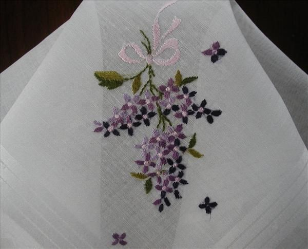 Lilacs Embroidery Vintage Hankie Original Label Swiss