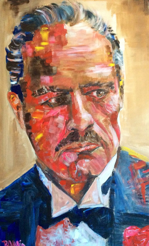 Vito Corleone. Acrílico sobre tabla de madera. 50 x 82 cm.