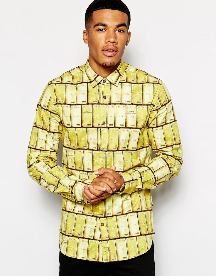 Hemd von Love Moschino aus elastischem Baumwollstoff durchgehendes, goldfarbenes Balkenmuster spitzer Kragen durchgehende Knopfleiste vorn lange Ärmel normale Passform