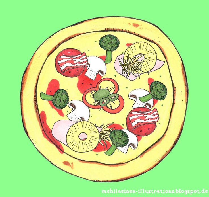 """Im Englischunterricht nehmen wir momentan das Thema """"food"""" durch. Die Pizza unten haben wir zum Spielen kleiner Dialoge genutzt. An den Z..."""