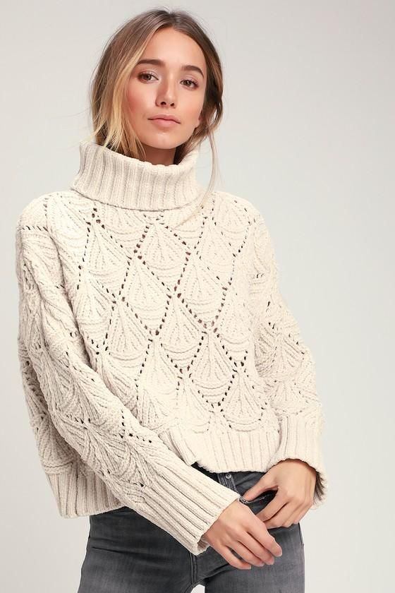 EnvyWe  Lulus -  Lulus Smiling Sweetly Light Beige Chenille Knit  Turtleneck Sweater - Lulus - EnvyWe.com 0626f33a7