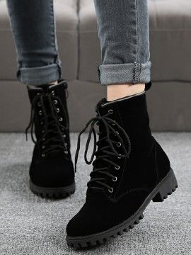 Shop Black Lace Up Suedette Chunky Ankle Boots from choies.com .Free shipping Worldwide.$41.39