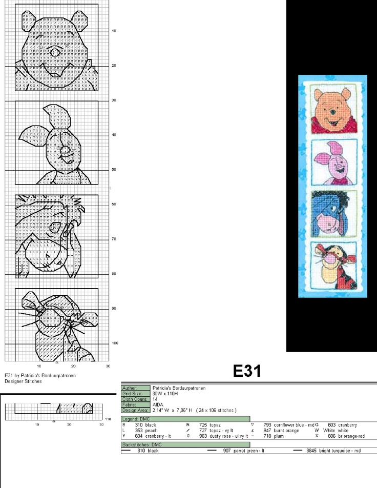 This is a pattern of the Winnie the Pooh and friends bookmark of Designer Stitches that is no longer for sale.