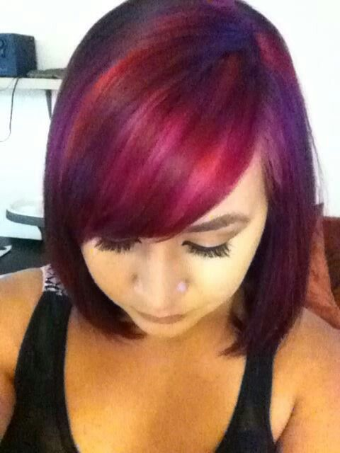 I used Joico's vivids in magenta, red, light purple, and wild orchid