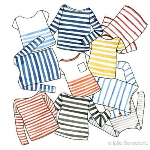 .: Tees Shirts, Julia Bereciartu, Illustration, Art Prints, Stripes Tops, Stripes Shirts, Things Stripes, Stripes Tees, My Style