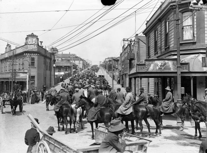Massey's Cossack's turning into Adelaide Road, Newtown, Wellington, during the 1913 Waterfront Strike