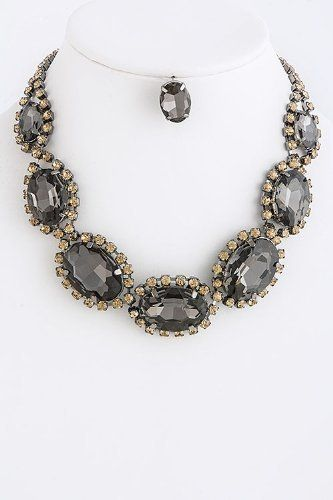 """Oval Black Diamond Crystal Link Statement Necklace - Oval Crystal Link Drape Necklace StarShine Jewelry. $58.50. Lead compliant. Length approx 14"""". Lobster claw clasp with 3"""" extender. Oval crystal link necklace"""