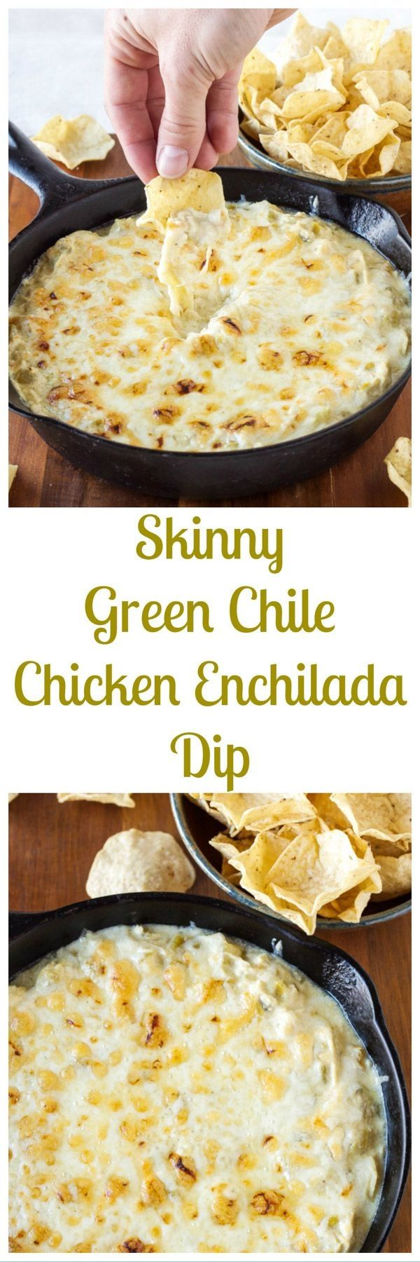 Skinny Green Chile Chicken Enchilada DipWarm, cheesy, green chile and enchilada dip with a fraction of the calories and fat compared to regular dip!