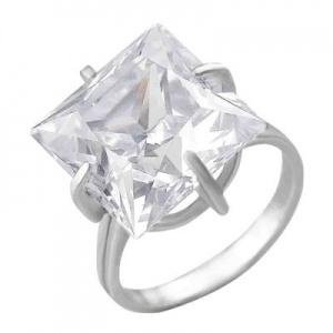 Кольцо 389 Основа - мельхиор, серебрение Вставка - фианит