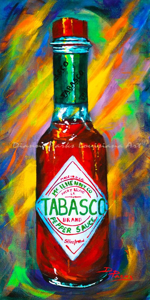 Awesome Sauce! Tabasco! New Orleans Art Print, Tabasco Hot Sauce, Louisiana Hot Sauces, New Orleans Food, New Orleans Artist, Dianne Parks