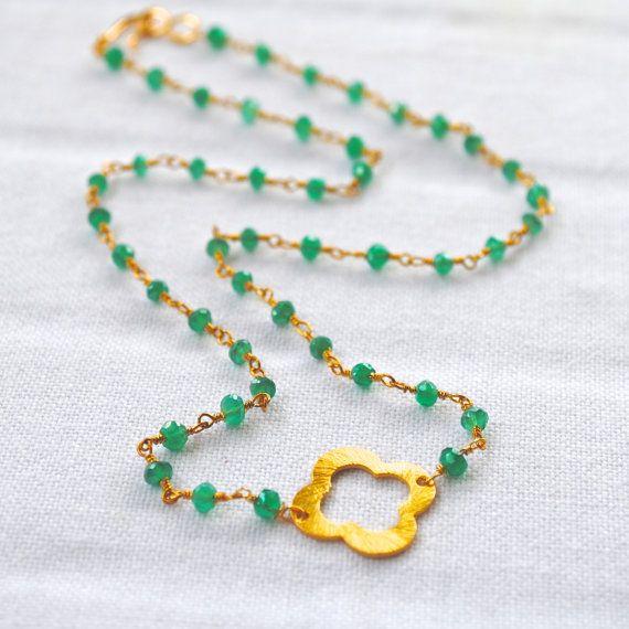 Vermeil Quatrefoil Emerald Chain Necklace by laurenamosdesigns, $54.00Amo Design, Lauren Amo, 54 00, 만들어 팔고파, 5400, Emeralds Chains, Chains Necklaces, Vermeil Quatrefoil, Quatrefoil Emeralds