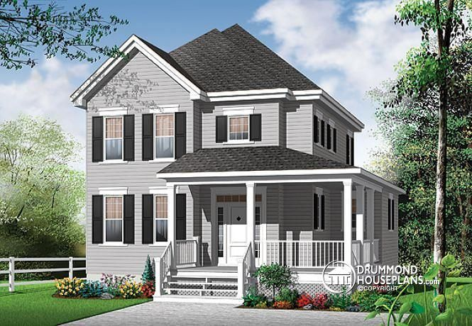 W3700 v1 2 storey 3 bedroom american style with home for 3 bedroom with office house plans