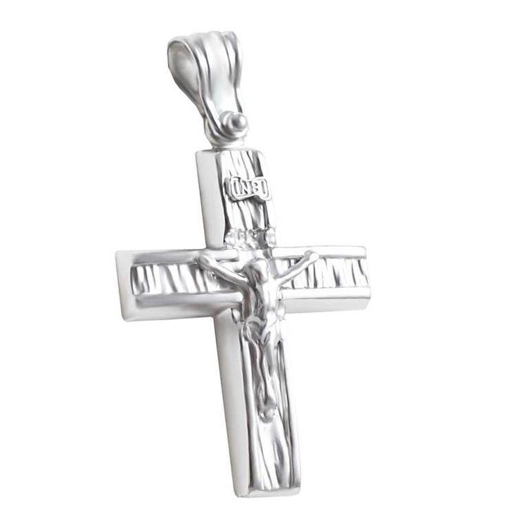 ΣΤ651P- Λευκόχρυσος βαπτιστικός σταυρός με Εσταυρωμένο