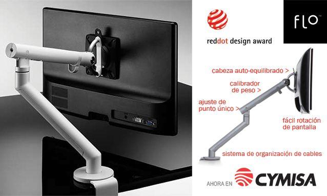 ¡Por estrenar! Brazo porta monitor FLO. Asegura mejor rendimiento ergonómico, amplitud de movimiento y ajuste  de punto único para establecer tensión del resorte óptima para el peso de la pantalla.