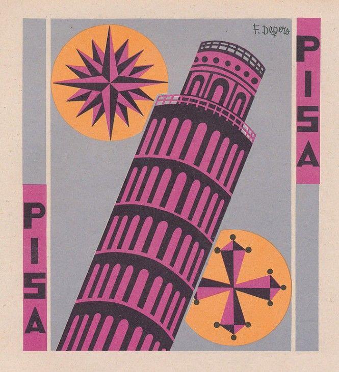Fortunato Depero, le Province italiane, Pisa (1938)