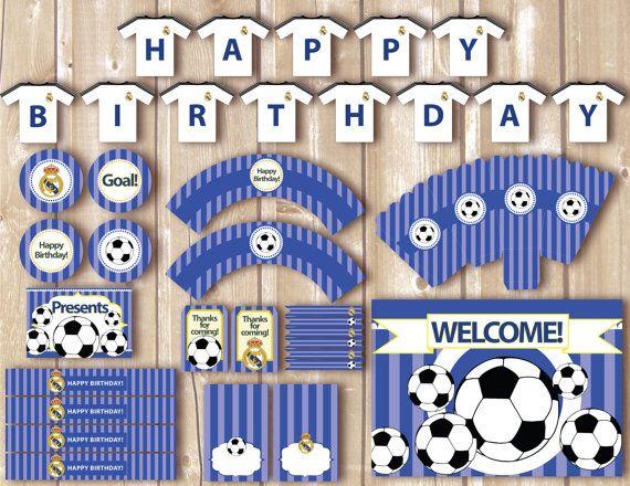 Kit de futbol imprimible para cumpleaños