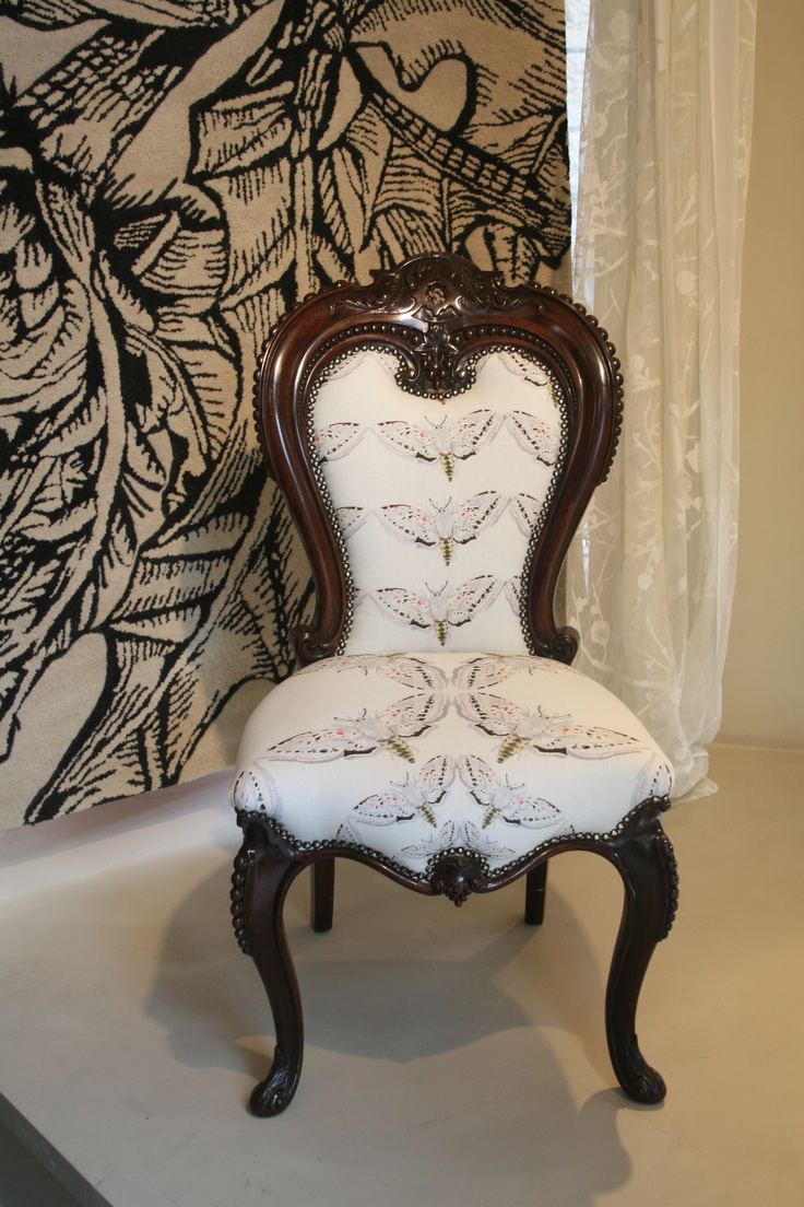 A beautifully restored victorian chair with Timorous Beasties 'White Moth' fabric.