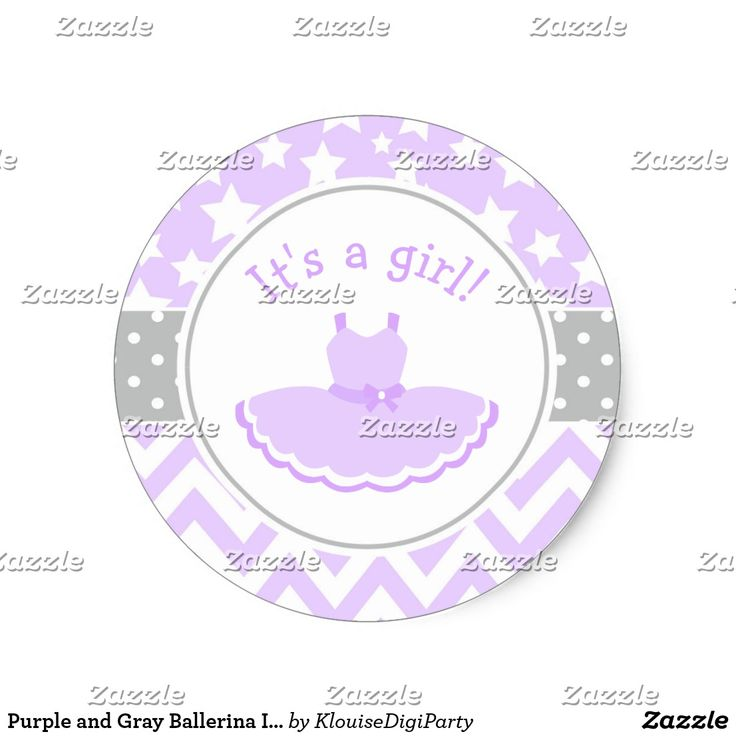 Purple and Gray Ballerina It's A Girl Classic Round Sticker