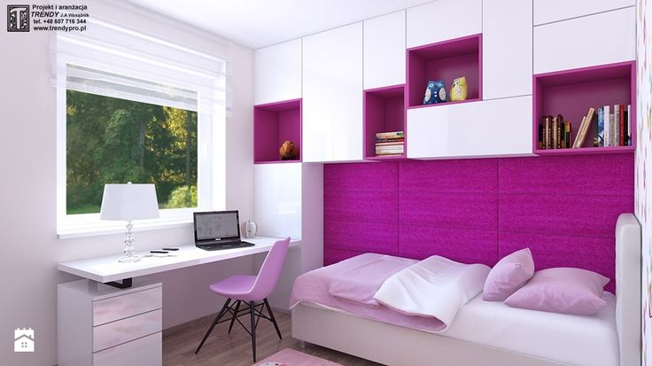 pokoj dziewczynki 1 - Mały pokój dziecka dla dziewczynki dla ucznia dla nastolatka, styl nowoczesny - zdjęcie od APP TRENDY Autorska Pracownia Projektowa