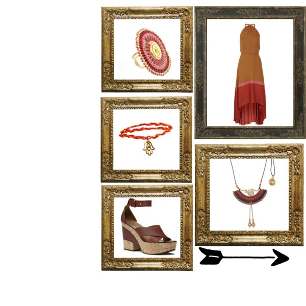 This earthy tones weaved waxed cords and twisted brass necklace is so demure and unique. The only way to make it justice is to pair it with rich browns and reds like this dress and try to wear wedge sandals to look like a true bohemian glamazon!