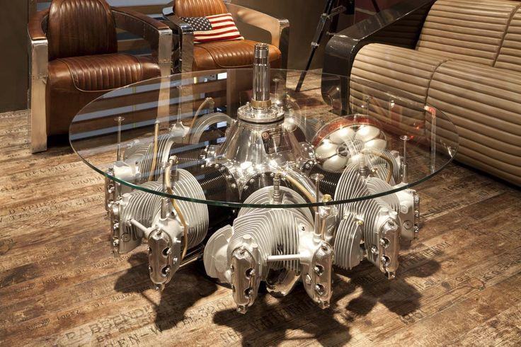 Tavolino da caff realizzato con motore stellare originale di aerei degli  anni 30' - Engine coffee table made from original aircraft radial engine