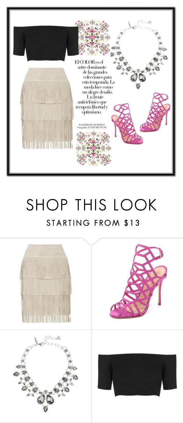 """Fringe skirt"" by any-dazaperez ❤ liked on Polyvore featuring Illia, Schutz, Arco, Oscar de la Renta and Topshop"