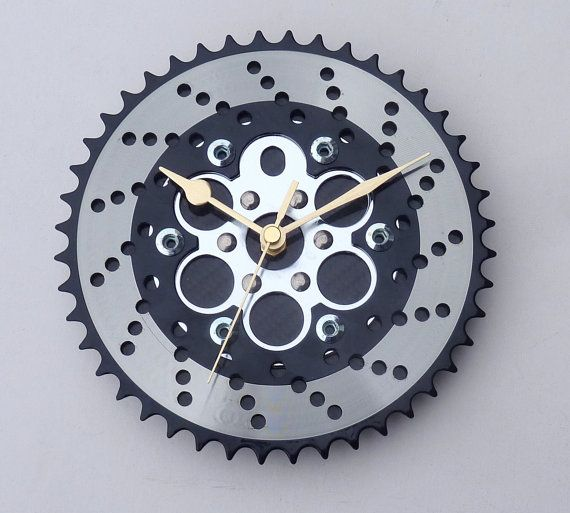 Bike gear & carbon fiber workshop wall clock unique by LedonGifts, $54.00