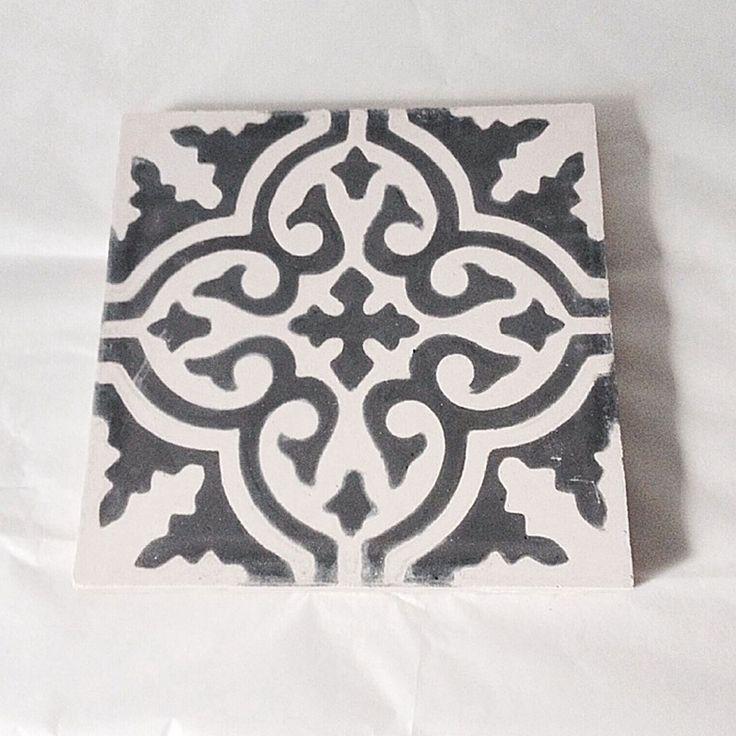 Marockansk kakel Grafit Svart Stjärna, Rif Design
