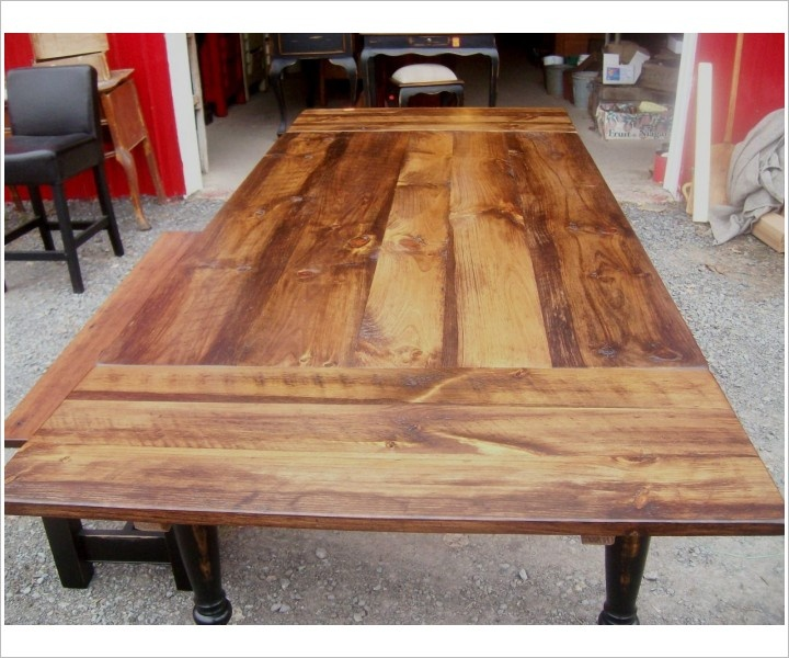 Reclaimed wood dining table with leaves woodworking for Wood dining room table with leaf