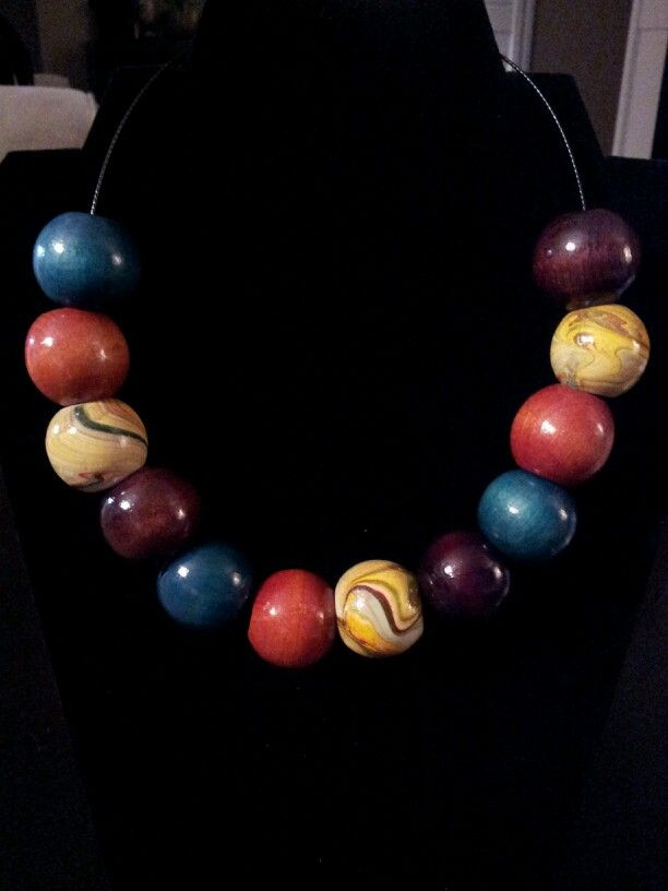 Wood Multi-Color Round Bead Statement Necklace - $11 [OOAK and Customizable] (Link available soon)