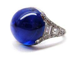 An Art Deco Kashmir sapphire and diamond ring by Trabert & Hoeffer Mauboussin.