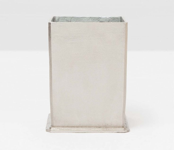 Pigeon & Poodle Porto Square Wastebasket in Rustic Silver Aluminum and Optional Tissue Box from The Well Appointed House