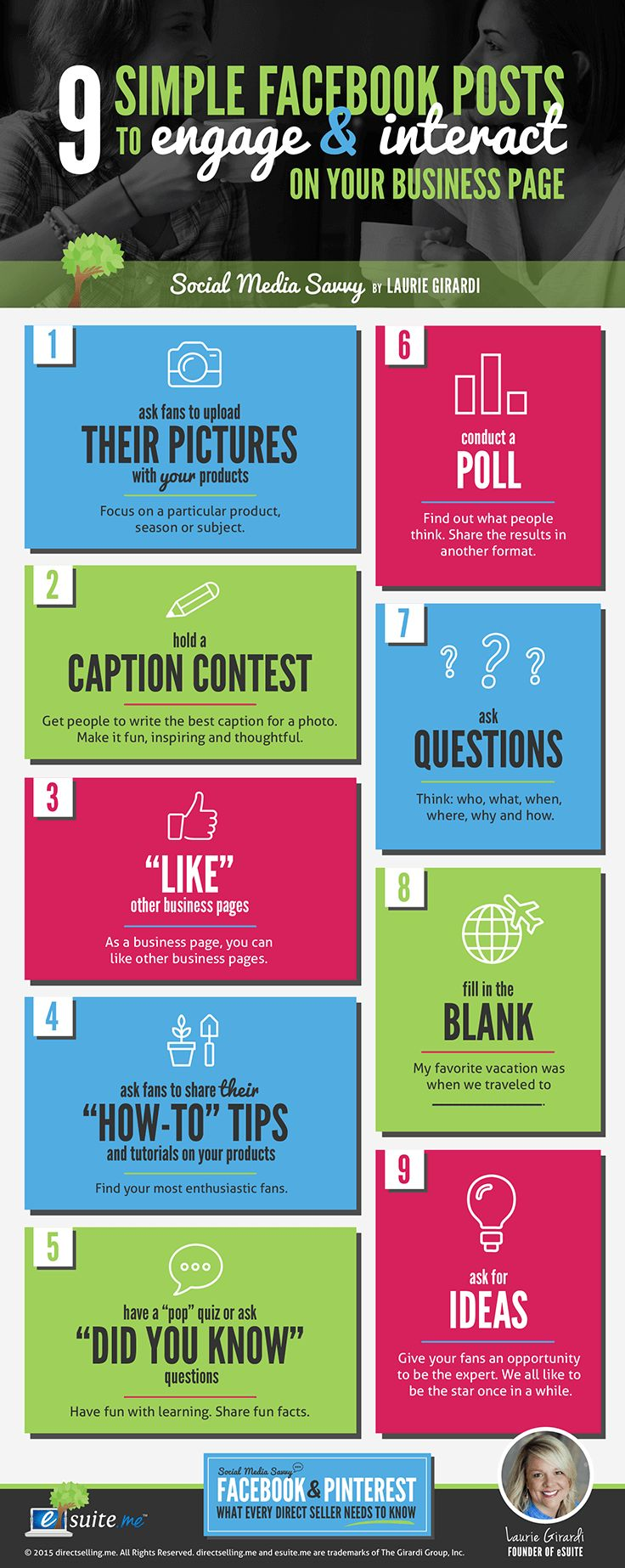 "Using Facebook for Business is essential to a direct sellers success! These FREE tips give you 30 great ideas for what to post on your business page.  In the course, Social Media Savvy: The Essentials for Direct Sellers, we explore how to use Facebook and Pinterest in your business. One of the questions we get the most is, ""what should I post on Facebook?"" To help you plan what to post on your business Facebook page, we've created some great tools for you to use. Pin them, print them ……"