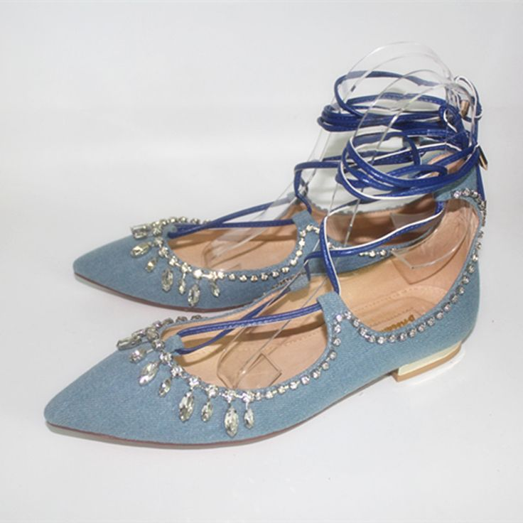 Spring newest denim blue lace-up flat shoes pointed toe bling bling crystal  woman dress 64b89544d8a8