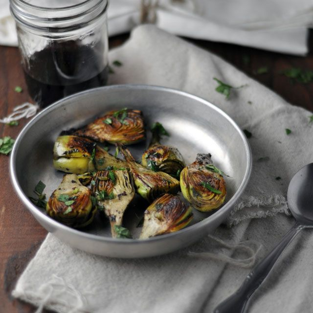 Pan Fried Baby Artichokes with Mint and Lemon from Turntable Kitchen