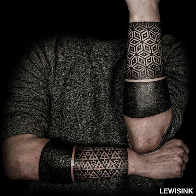 Both forearms done by @lewisink !!! #sacredgeometry #geometrictattoo #geometrychaos #geometricpattern #dotwork #dots #blacklines #blackwork