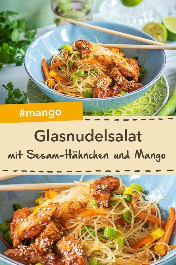 Glasnudelsalat mit Sesam-Hähnchen und Mango
