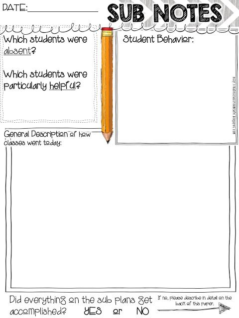 Simple free printable to add to your sub folder.  Middle School Ideas from Kate's Classroom Cafe