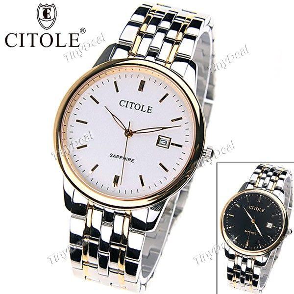 CITOLE Stainless Steel Quartz Analog Wrist Watch Wristwatch Timepiece with Date for Men Boy Male W-139072
