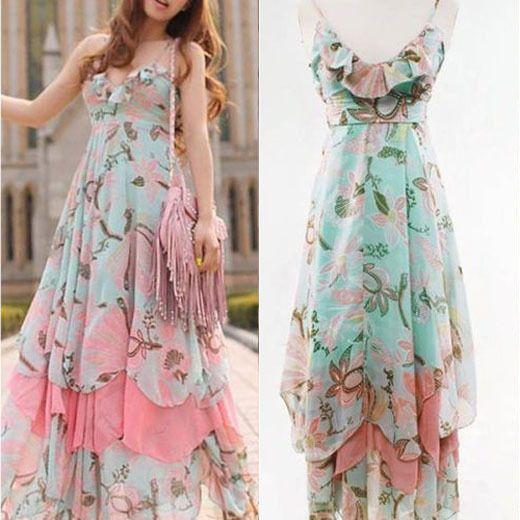 New Women Bohemian Floral Beach Dress Summer Boho Maxi Chiffon Sundress Dresses