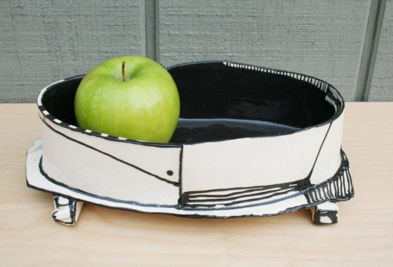 Black and white modern low vessel by HouseOfCeramics on Etsy, $75.00
