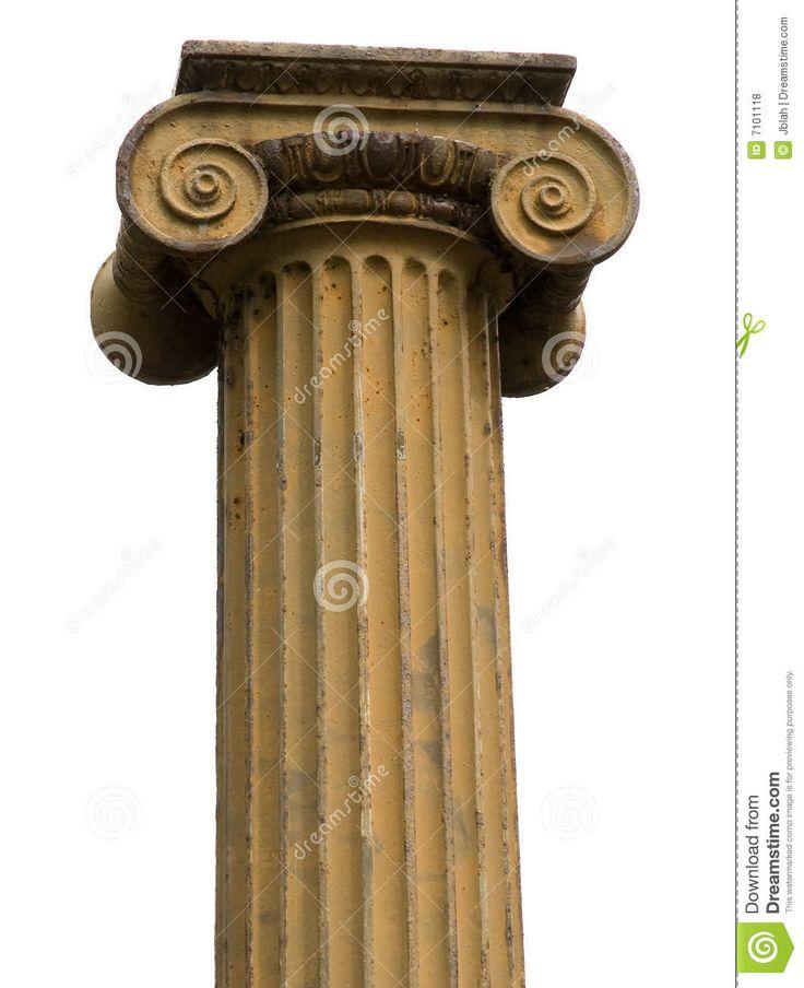 colonna ionica: la colonna ionica è scanalata, è rastremata, non sempre rigonfiata. Il capitello è a doppia voluta.