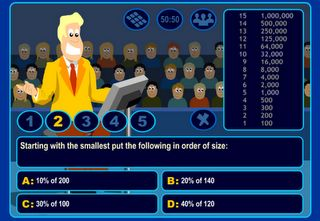 """Fun math game online called """"Who Wants to Be a Mathonaire"""" - five levels of difficulty available."""