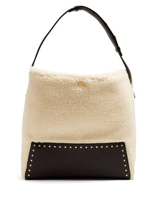 Stella McCartney Stud-embellished faux-shearling shoulder bag