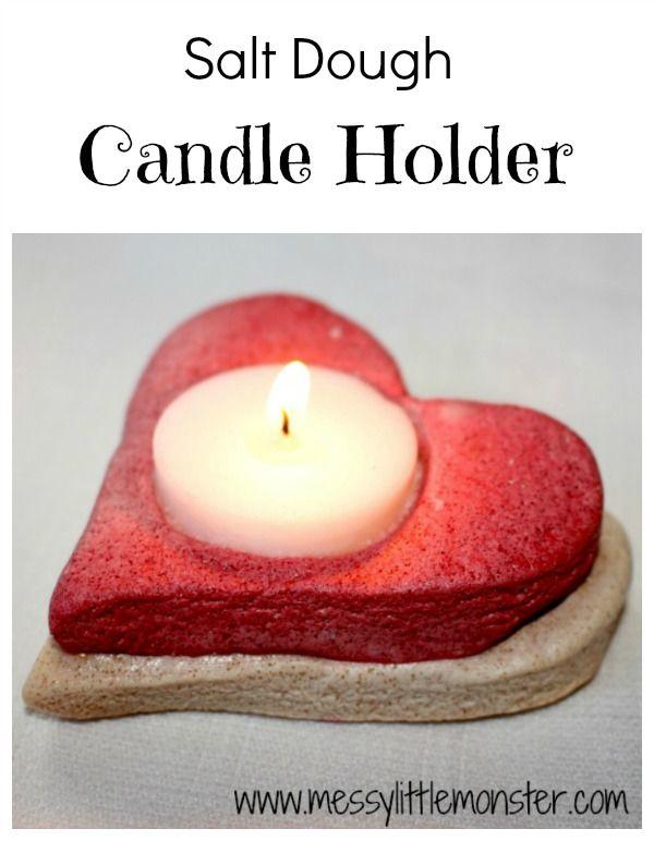 Messy Little Monster: Salt Dough Crafts: Heart Candle Holder (Valentines day)