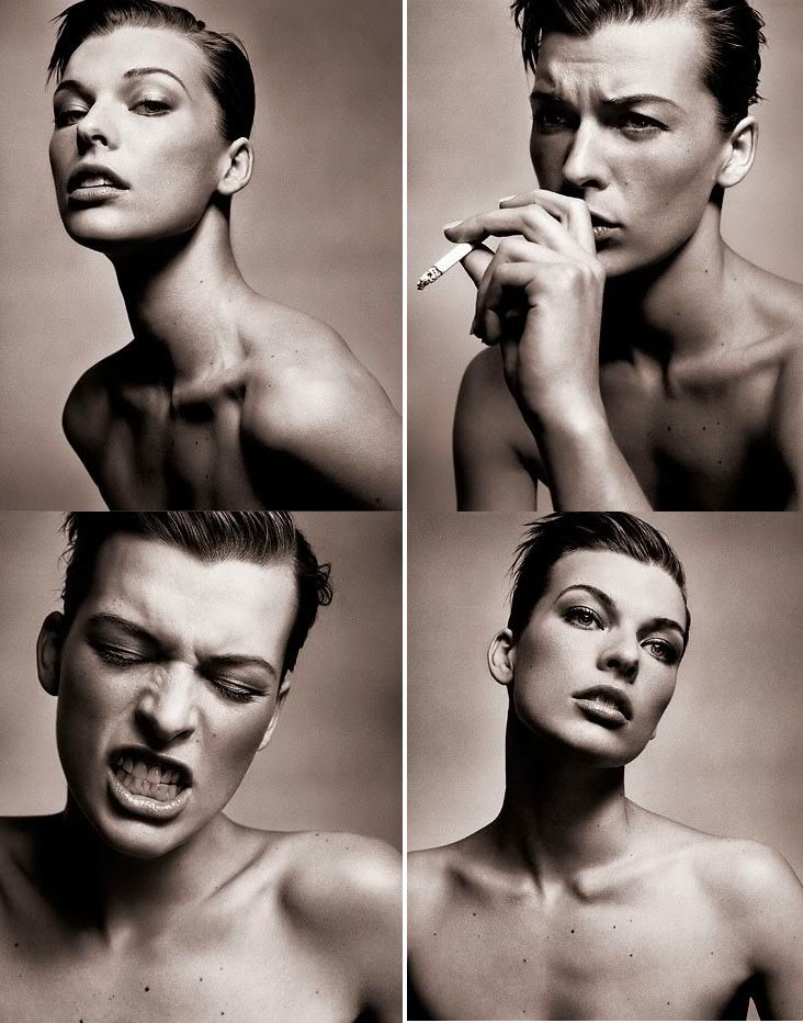 Milla Jovovich photographed by Vincent Peters. She looks like David Bowie in the top right photograph.