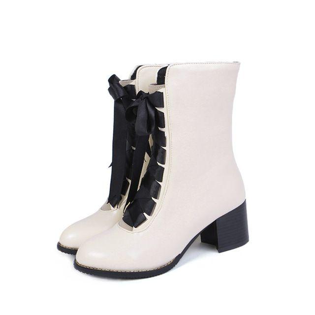 Meotina Mujer Botas Rojas Zapatos de Las Señoras de Invierno 2017 Nuevo Talón de Bloque Señoras ocasionales de Gran tamaño 33 46 Mujeres Atan para arriba Botas de Invierno en Botas media caña de Zapatos en AliExpress.com   Alibaba Group